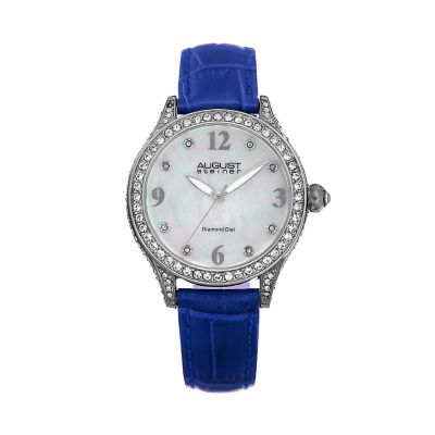 August Steiner Women's  Leather & Crystal Watch [AS8188BU]
