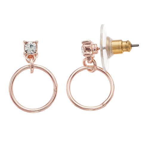 LC Lauren Conrad Faceted Stone Hoop Drop Earrings