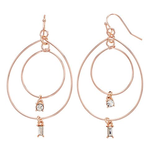 LC Lauren Conrad Nickel Free Baguette Drop Hoop Earrings