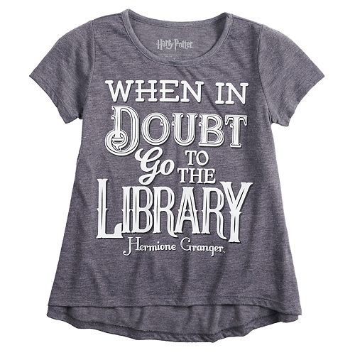 """Girls 7-16 Harry Potter Hermione Granger """"Library"""" Graphic Tee"""
