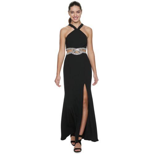 Juniors' Speechless Y Neck Infinity Jeweled Waist Maxi Dress by Kohl's