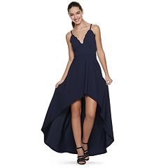 Juniors' Speechless Scalloped V-Neck High-Low Dress