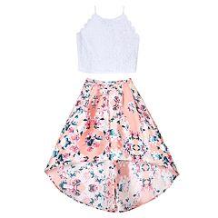 Girls 7-16 IZ Amy Byer Crop Top & High-Low Skirt Set