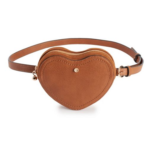LC Lauren Conrad Corinne Heart Faux-Leather Belt Bag