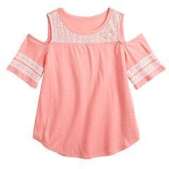 Girls 7-16 & Plus Size SO® Crochet Cold-Shoulder Tee