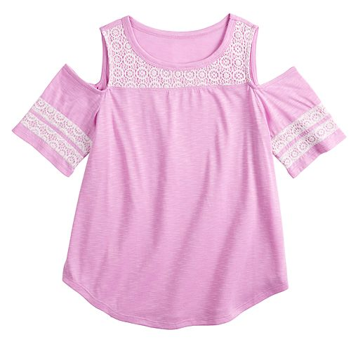 Girls 7-16 & Plus Size SO® Crochet Cold-Shoulder Tee