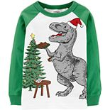 Toddler Boy Carter's Christmas T-Rex Raglan Graphic Tee