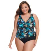 Plus Size Great Lengths Gold Leaf Side Tie Surplice One-Piece