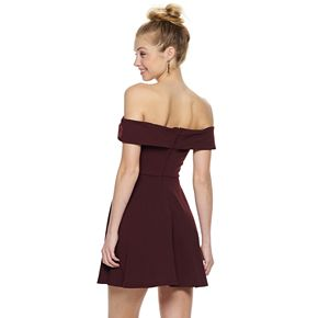 Juniors' Speechless Off-the-Shoulder Fit & Flare Dress