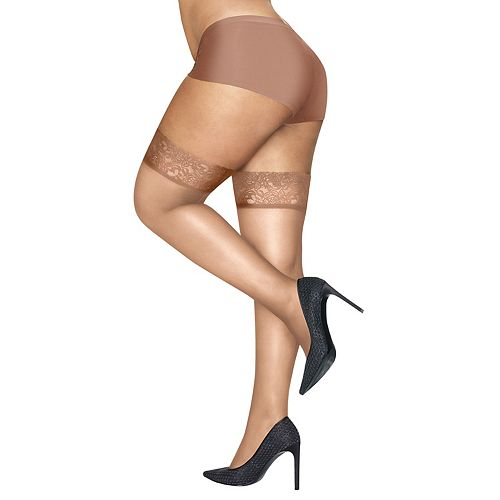 111919a9c Plus Size Hanes Curves Lace-Top Thigh High Pantyhose