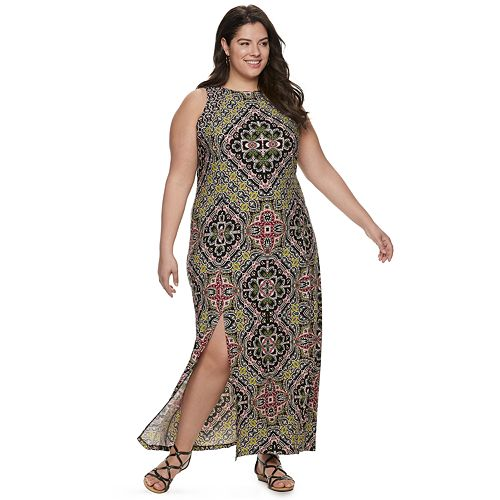 Plus Size Suite 7 Printed Maxi Dress