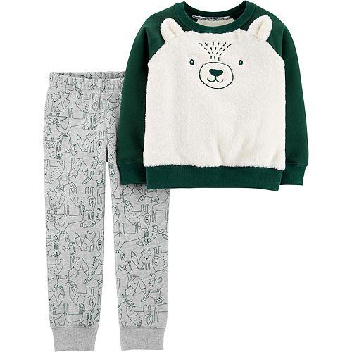 Baby Boy Carter's Fuzzy Bear Raglan Top & Fleece Jogger Pants Set