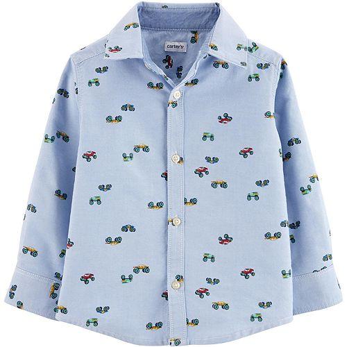 Toddler Boy Carter's Monster Truck Oxford Button-Front Shirt