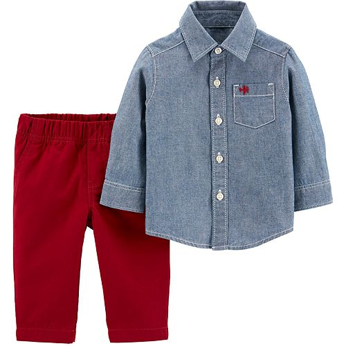 Toddler Boy Carter's 2-Piece Chambray Button-Front Top & Pants Set
