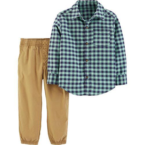 Toddler Boy Carter's 2-Piece Gingham Button-Front Top & Poplin Pants Set