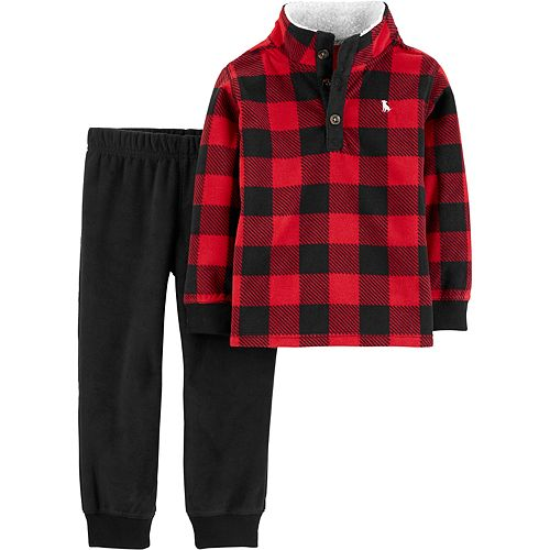 Toddler Boy Carter's 2-Piece Buffalo Check Fleece Pullover & Jogger Pants Set