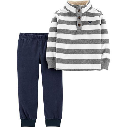 Toddler Boy Carter's 2-Piece Striped Fleece Pullover & Joggers Set