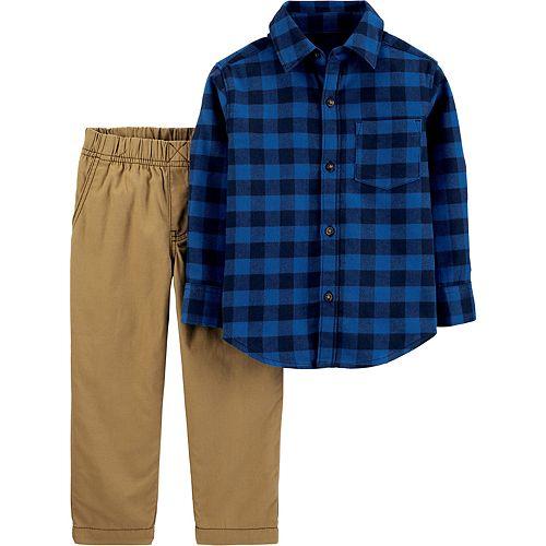 Toddler Boy Carter's 2-Piece Plaid Button-Front Shirt & Khaki Pants Set