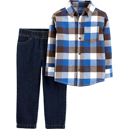 Toddler Boy Carter's 2-Piece Plaid Button-Front Top & Denim Pants Set