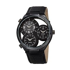 Joshua & Sons Men's Black Leather Triple Time Watch