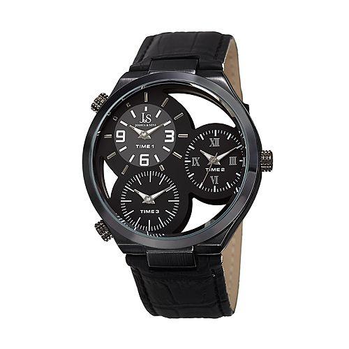 Joshua & Sons Men's Black Leather Triple Time Watch
