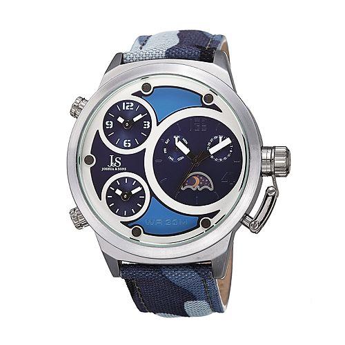 Joshua & Sons Men's Camo Canvas Dual Time Watch