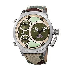 Joshua & Sons Men's Camo Canvas Dual Time Watch