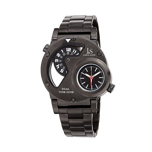 Joshua & Sons Men's Stainless Steel Rotating Dial Dual Time Watch