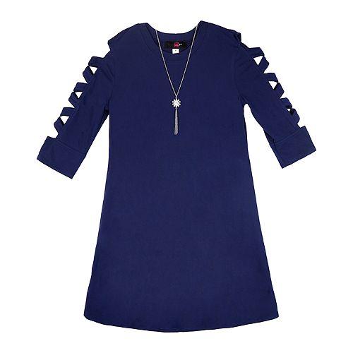Girl's IZ Amy Byer 3/4 Lattice Sleeve Swing Dress