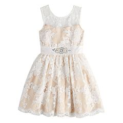 Girls 7-16 Lavender Embroidered Mesh Dress