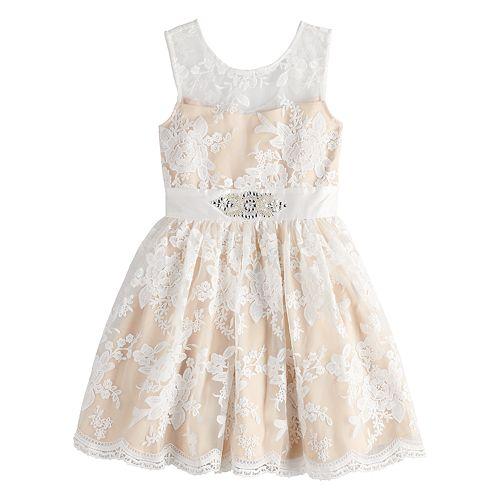Girls 7-16 Lavender Embroidered Mesh Dress