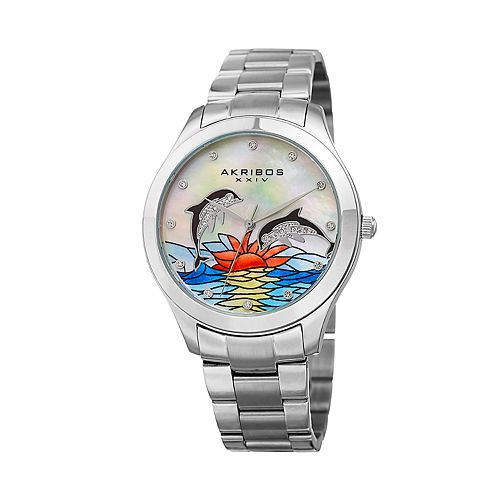 Akribos XXIV Women's Crystal Accent Dolphin Stainless Steel Watch