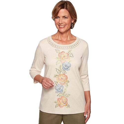 Petite Alfred Dunner Embroidered Floral Knit Top