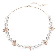 inspire NEW YORK Clear Flower Collar Necklace