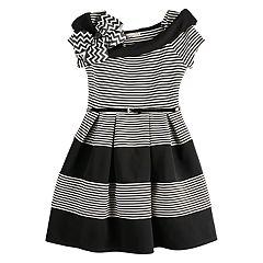 Girls Knitworks Marylin Skater Stripe Dress with Belt Size 10