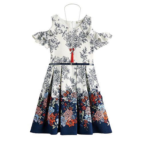 Girls 7-16 Knitworks Cold Shoulder Skater Dress, Belt & Necklace Set