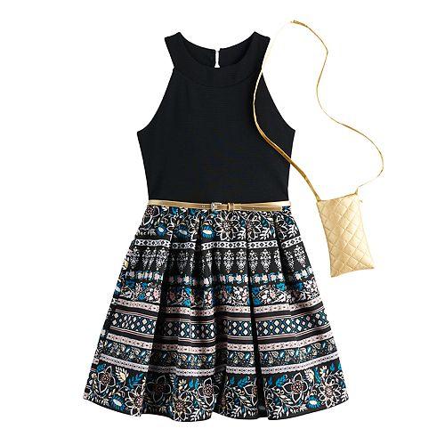 Girls 7-16 Knitworks Sleeveless Cleo Halter Skater Dress