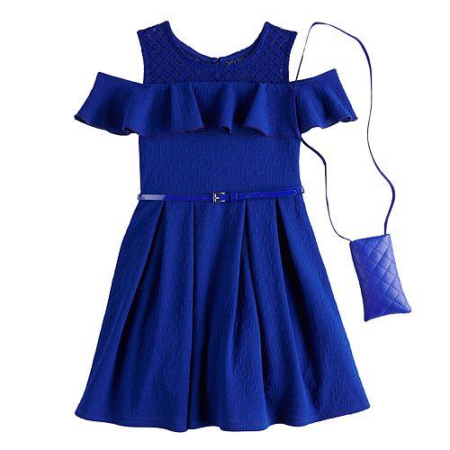 Girls 7-16 Knitworks Sleeveless Ruffle Solid Skater Dress