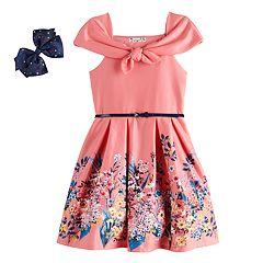 c43a256b78b362 Girls 7-16 Knitworks Sleeveless Tie-Front Border Skater Dress