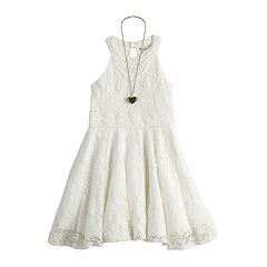 Girls 7-16 Knitworks Lace Halter Dress & Necklace Set