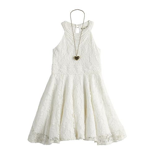 Girls 7-16 Knitworks Lace Halter Dress & Necklace Set