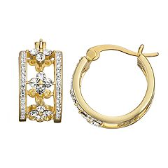 0293738aa Chrystina Open Work Crystal Hoop Earrings