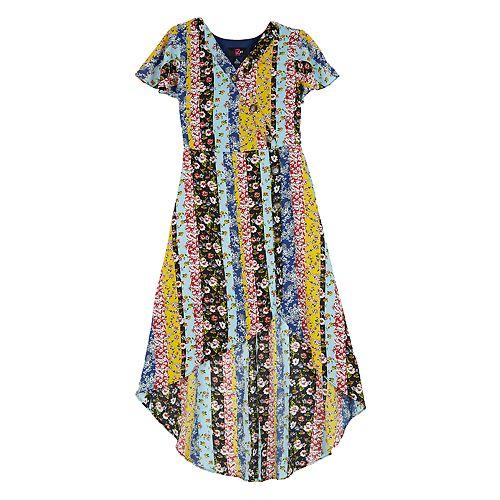 Girls IZ Amy Byer High-Low Surplice Button Dress