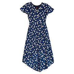 eab7120415 Girls IZ Amy Byer High-Low Surplice Button Dress