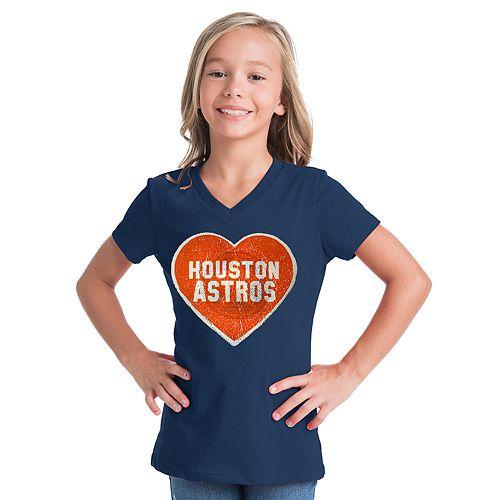 Girls 7-16 Houston Astros V-Neck Sequins Tee