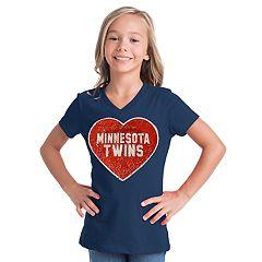 Girls 7-16 Minnesota Twins V-Neck Sequins Tee