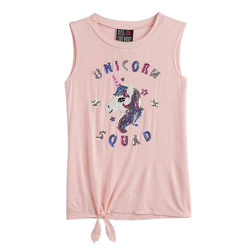Girls 7-16 Miss Chievous Knot Hem Graphic Tank
