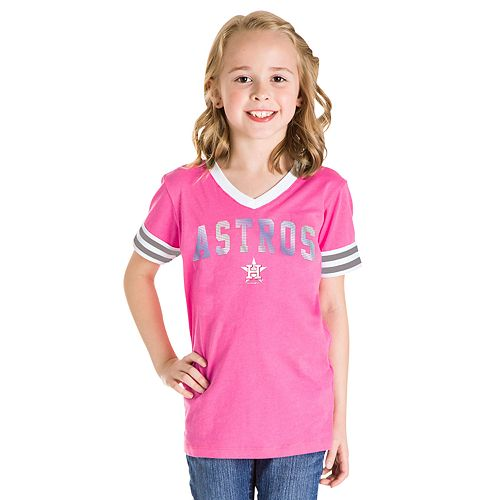 Girls 7-16 Houston Astros V-Neck Jersey Stripe Tee