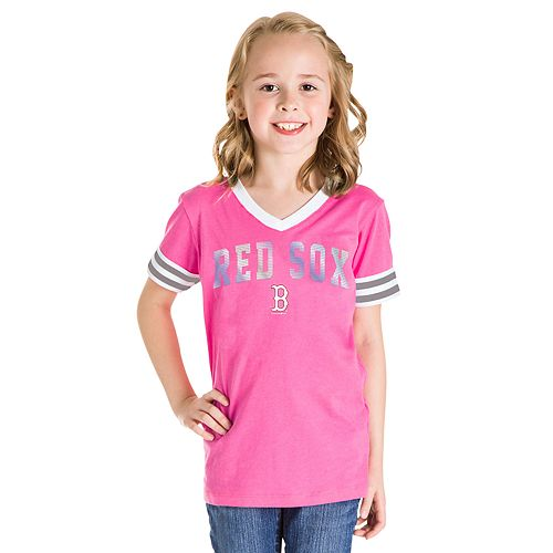 Girls 7-16 Boston Red Sox V-Neck Jersey Stripe Tee