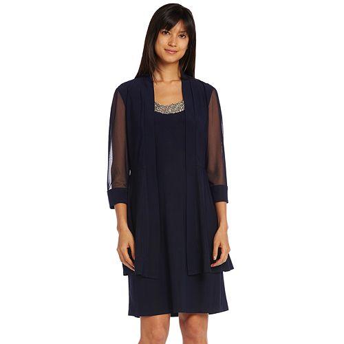 Petite R&M Richards Beaded Dress & Sheer Jacket Set